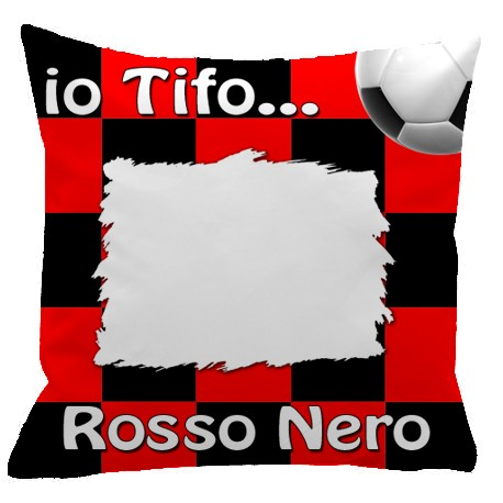 Federa SPORT Rosso - Nero Full Print 40x40 cm. Poliestere 100%