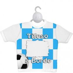 MINI T-SHIRT SPORT  h18 cm. Bianco - Azzurro