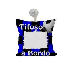 Mini Federa SPORT Nero - Azzurro Full Print 15x15 cm. Poliestere 100%