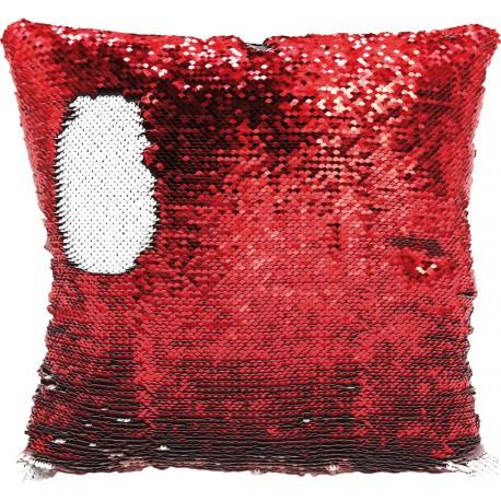 Federa Paillettes 40X40 cm. Bianco-Rosso