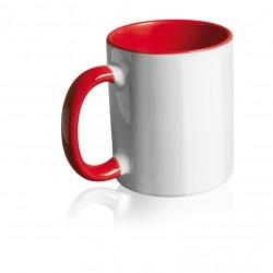 Tazza Bianca in Ceramica con Manico ed Interno Colorato Rosso Stampa Sublimatica 11 oz