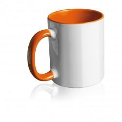 Tazza Bianca in Ceramica con Manico ed Interno Colorato Arancio Stampa Sublimatica 11 oz