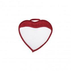 Porta Cellulare Cuoricino Bianco/Rosso 18x18 cm. (con ventosina)