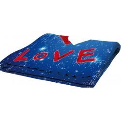 Plaid Poliestere Pail Love Blu  100x150 cm. Prestampato con area stampabile