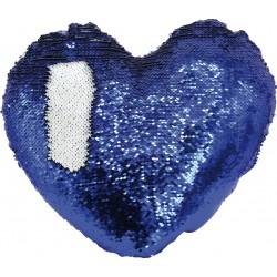 Federa Cuore Paillettes 40X40 cm. Bianco-Blu