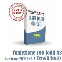 Laser-Dark (No-Cut) LowTemp CMYW A+B A3 100 fogli ( Tessuti Scuri)