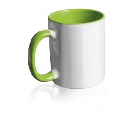 Tazza Bianca in Ceramica con Manico ed Interno Colorato Verde Stampa Sublimatica 11 oz