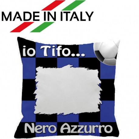 Federa SPORT Nero - Azzurro Full Print 40x40 cm. Poliestere 100%