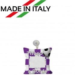 Mini Federa SPORT Bianco - Viola Full Print 15x15 cm. Poliestere 100%