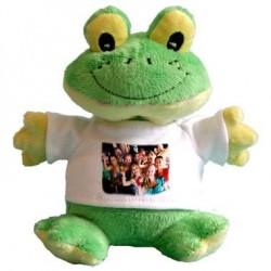 Peluche Rana h. 20 cm. con Mini T-Shirt Bianca