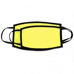 Mascherina DOPPIO STRATO Giallo Fluo Retro Nero Poliestere/Cotone 20x12 cm.
