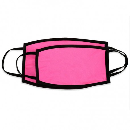 Mascherina DOPPIO STRATO Rosa Fluo Retro Nero Poliestere/Cotone 20x12 cm.