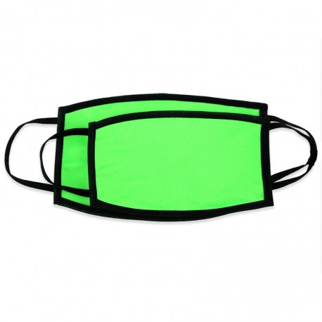 Mascherina DOPPIO STRATO Verde Fluo Retro Nero Poliestere/Cotone 20x12 cm.