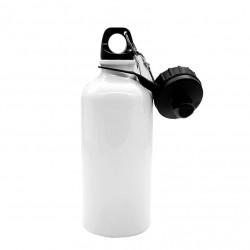 Borraccia con DOPPIO TAPPO a vite e moschettone Sublimatica in Alluminio BIANCO 500 ml. H 19 cm. Ø 7,3 cm.