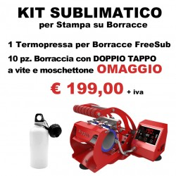 KIT SUBLIMATICO per Boracce. 1 Termopressa per Borracce + 10 Borracce OMAGGIO