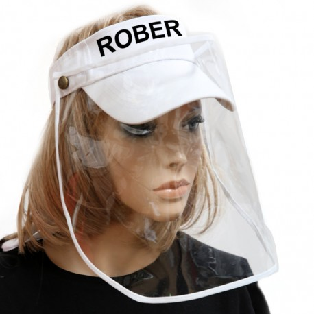 Cappellino Bianco con Visiera Protettiva in PVC