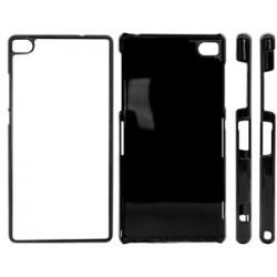 Huawei P8 Lite Cover in Plastica Nero con inserto in alluminio sublimatico
